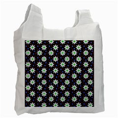 Daisy Dots Navy Blue Recycle Bag (one Side) by snowwhitegirl