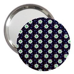 Daisy Dots Navy Blue 3  Handbag Mirrors by snowwhitegirl