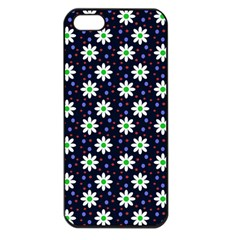 Daisy Dots Navy Blue Apple Iphone 5 Seamless Case (black) by snowwhitegirl