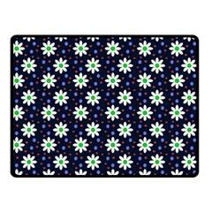 Daisy Dots Navy Blue Double Sided Fleece Blanket (small)  by snowwhitegirl