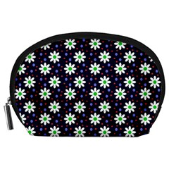 Daisy Dots Navy Blue Accessory Pouches (large)