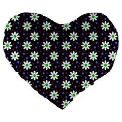 Daisy Dots Navy Blue Large 19  Premium Flano Heart Shape Cushions by snowwhitegirl