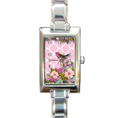 Shabby Chic,floral,bird,pink,collage Rectangle Italian Charm Watch by 8fugoso