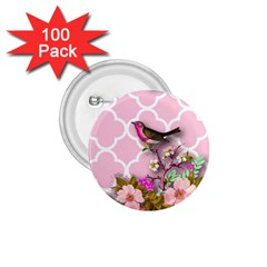 Shabby Chic,floral,bird,pink,collage 1 75  Buttons (100 Pack)  by 8fugoso