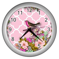 Shabby Chic,floral,bird,pink,collage Wall Clocks (silver)  by 8fugoso