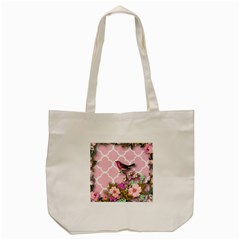 Shabby Chic,floral,bird,pink,collage Tote Bag (cream) by 8fugoso