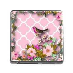 Shabby Chic,floral,bird,pink,collage Memory Card Reader (square) by 8fugoso