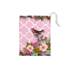 Shabby Chic,floral,bird,pink,collage Drawstring Pouches (small)  by 8fugoso
