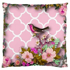 Shabby Chic,floral,bird,pink,collage Large Flano Cushion Case (one Side)