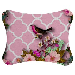 Shabby Chic,floral,bird,pink,collage Jigsaw Puzzle Photo Stand (bow) by 8fugoso