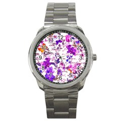 Ultra Violet,shabby Chic,flowers,floral,vintage,typography,beautiful Feminine,girly,pink,purple Sport Metal Watch by 8fugoso