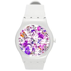 Ultra Violet,shabby Chic,flowers,floral,vintage,typography,beautiful Feminine,girly,pink,purple Round Plastic Sport Watch (m) by 8fugoso