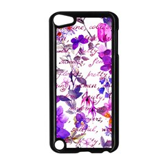 Ultra Violet,shabby Chic,flowers,floral,vintage,typography,beautiful Feminine,girly,pink,purple Apple Ipod Touch 5 Case (black) by 8fugoso