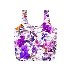 Ultra Violet,shabby Chic,flowers,floral,vintage,typography,beautiful Feminine,girly,pink,purple Full Print Recycle Bags (s)  by 8fugoso