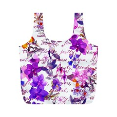 Ultra Violet,shabby Chic,flowers,floral,vintage,typography,beautiful Feminine,girly,pink,purple Full Print Recycle Bags (m)  by 8fugoso