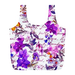 Ultra Violet,shabby Chic,flowers,floral,vintage,typography,beautiful Feminine,girly,pink,purple Full Print Recycle Bags (l)  by 8fugoso