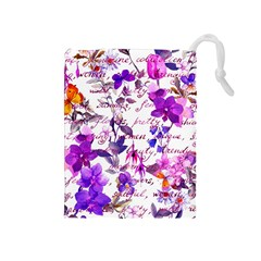 Ultra Violet,shabby Chic,flowers,floral,vintage,typography,beautiful Feminine,girly,pink,purple Drawstring Pouches (medium)  by 8fugoso