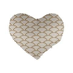 Gold,white,art Deco,vintage,shell Pattern,asian Pattern,elegant,chic,beautiful Standard 16  Premium Flano Heart Shape Cushions by 8fugoso