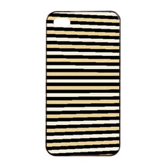 Black And Gold Stripes Apple Iphone 4/4s Seamless Case (black)