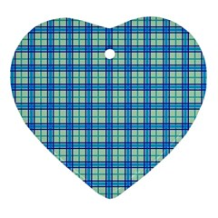 Sea Tartan Heart Ornament (two Sides) by jumpercat