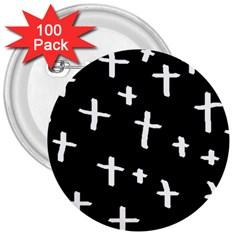 White Cross 3  Buttons (100 Pack)  by snowwhitegirl