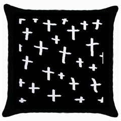 White Cross Throw Pillow Case (black)