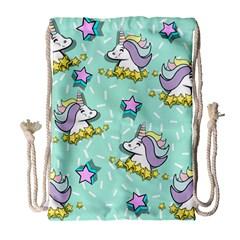 Magical Happy Unicorn And Stars Drawstring Bag (large)