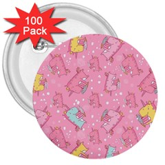 Unicorns Eating Ice Cream Pattern 3  Buttons (100 Pack)