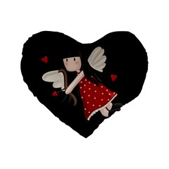 Cupid Girl Standard 16  Premium Flano Heart Shape Cushions by Valentinaart
