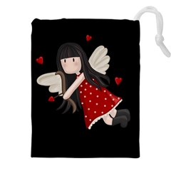 Cupid Girl Drawstring Pouches (xxl) by Valentinaart