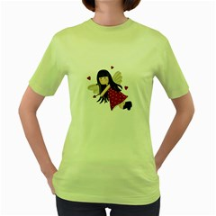 Cupid Girl Women s Green T Shirt by Valentinaart