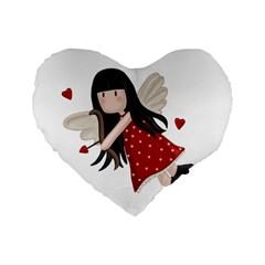 Cupid Girl Standard 16  Premium Heart Shape Cushions by Valentinaart