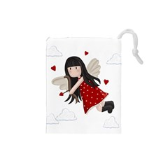 Cupid Girl Drawstring Pouches (small)  by Valentinaart