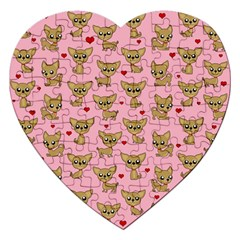 Chihuahua Pattern Jigsaw Puzzle (heart) by Valentinaart