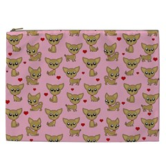 Chihuahua Pattern Cosmetic Bag (xxl)  by Valentinaart