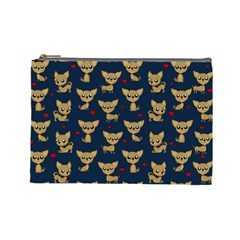 Chihuahua Pattern Cosmetic Bag (large)  by Valentinaart