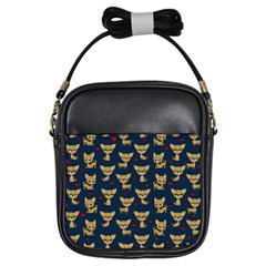 Chihuahua Pattern Girls Sling Bags by Valentinaart