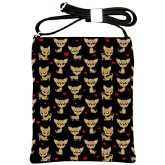 Chihuahua Pattern Shoulder Sling Bags by Valentinaart