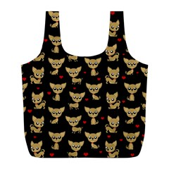 Chihuahua Pattern Full Print Recycle Bags (l)  by Valentinaart