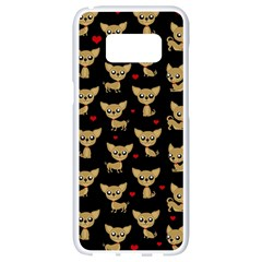 Chihuahua Pattern Samsung Galaxy S8 White Seamless Case by Valentinaart