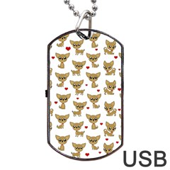 Chihuahua Pattern Dog Tag Usb Flash (two Sides) by Valentinaart