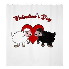 Valentines Day   Sheep  Shower Curtain 66  X 72  (large)  by Valentinaart