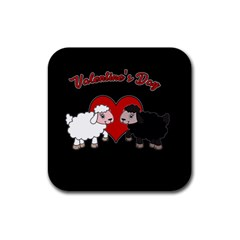 Valentines Day   Sheep  Rubber Coaster (square)  by Valentinaart