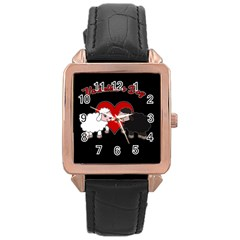 Valentines Day   Sheep  Rose Gold Leather Watch  by Valentinaart