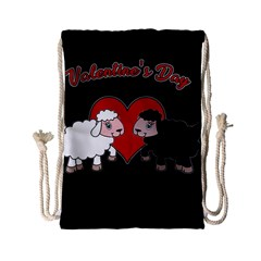 Valentines Day   Sheep  Drawstring Bag (small) by Valentinaart