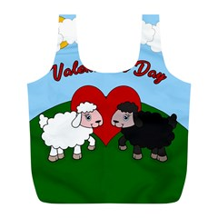Valentines Day   Sheep  Full Print Recycle Bags (l)  by Valentinaart