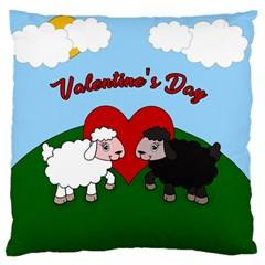 Valentines Day   Sheep  Large Flano Cushion Case (two Sides) by Valentinaart