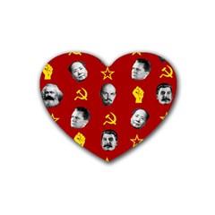 Communist Leaders Rubber Coaster (heart)  by Valentinaart