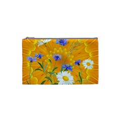 Flowers Daisy Floral Yellow Blue Cosmetic Bag (small)  by Nexatart