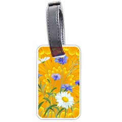 Flowers Daisy Floral Yellow Blue Luggage Tags (one Side)  by Nexatart